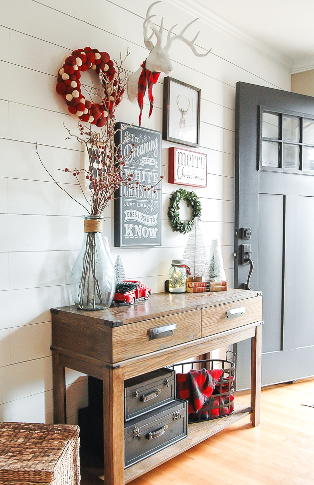 Christmas entryway gallery wall