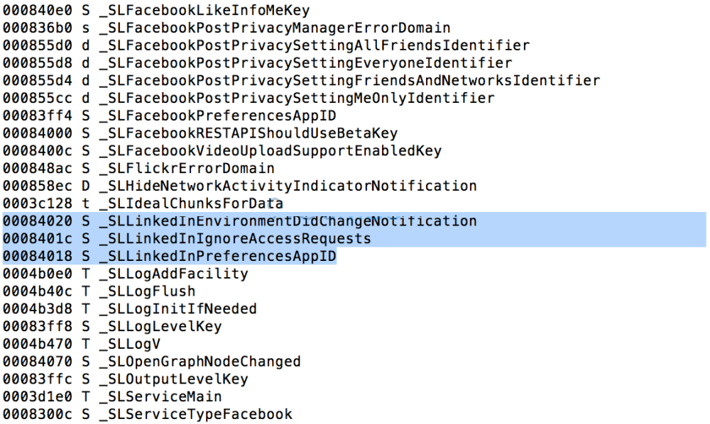 Linkedin and Apple Integration Code String