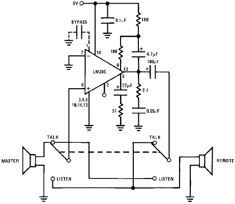 Circuits Apmilifier: LM390 Simple 2-Way intercom Circuit