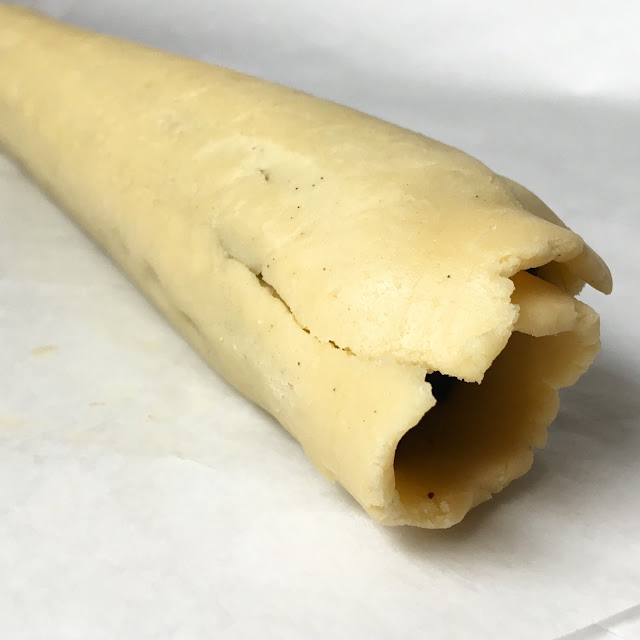 Rolled Tube of Vanilla & Chocolate Shortbread (Pate Sablee)