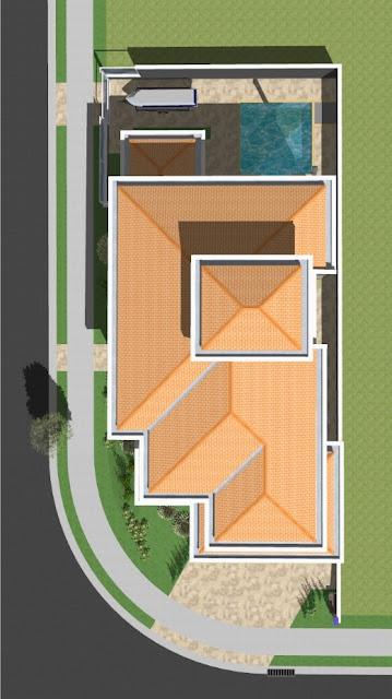 A cobertura deste sobrado foi projetada com telhado aparente sobre lajes de concreto armado, incluindo todo o perímetro dos beirais, onde ficam as calhas embutidas entre duas fiadas de tijolos impermeabilizados.