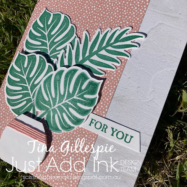scissorspapercard, Stampin' Up!, Just Add Ink, Tropical Chic, A Good Man, In Good Taste DSP, Tropical Escape DSP, Tropical Thinlits, Balloon Punch