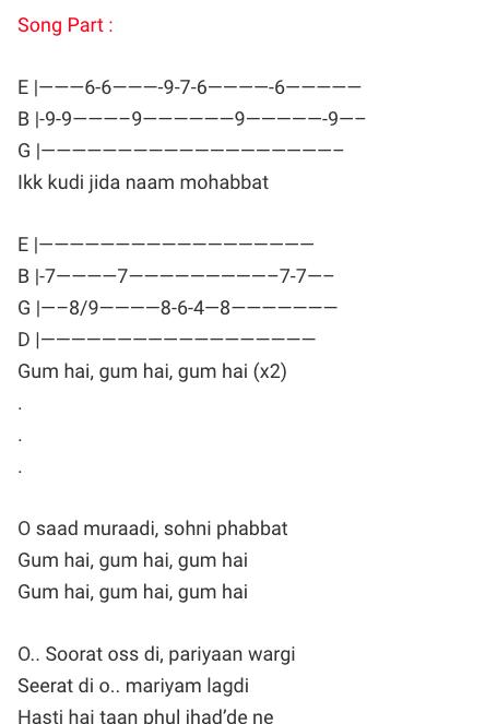 Ikk Kudi Tab/ Udta Punjab/ Guitar Tabs / Lead Notes / Hindi Songs Tabs / Shahid Mallya / Diljit Dosanjh / Bollywood / Ikk kudi jida naam mohabbat Udta Punjab Movie / Gaane