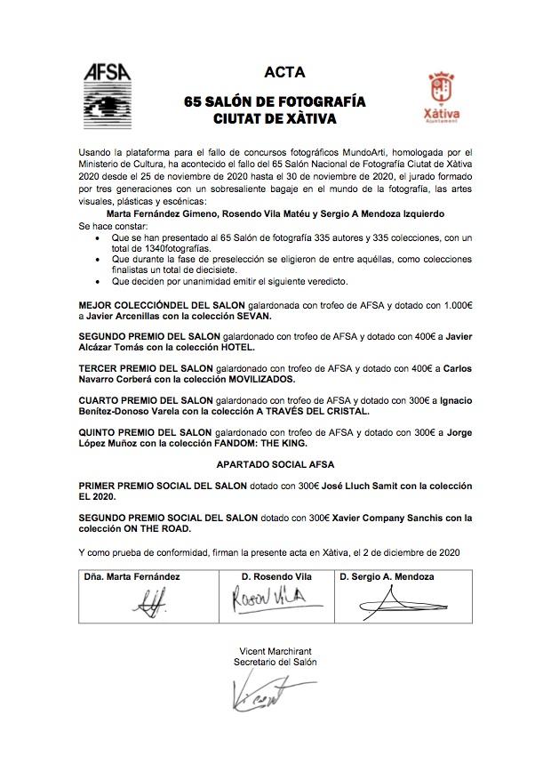 65 salon nacional de fotografia ciutat de xativa 2020 organizado por AFSA. Acta facsimil del fallo.