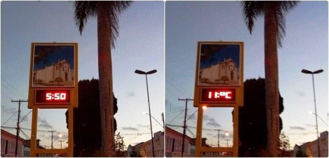 Chapada Dimantina registra 11º C e sensação térmica de 9º C