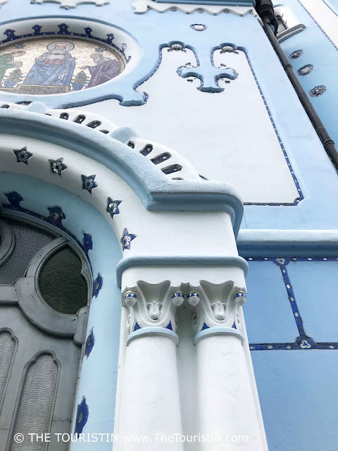 Facade detail of the blue church St. Elizabeth in Bratislava in Slovakia