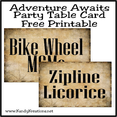 Download and save these table card printables for free today.  They are great for a jungle party, a pirate party, an UP party, a graduation party, a retirement party, or so many other party themes.  Plus, they have a matching candy bar wrapper to help you create a fun Adventure Awaits birthday party.