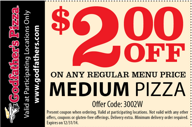 Godfather's Pizza Printable Coupon