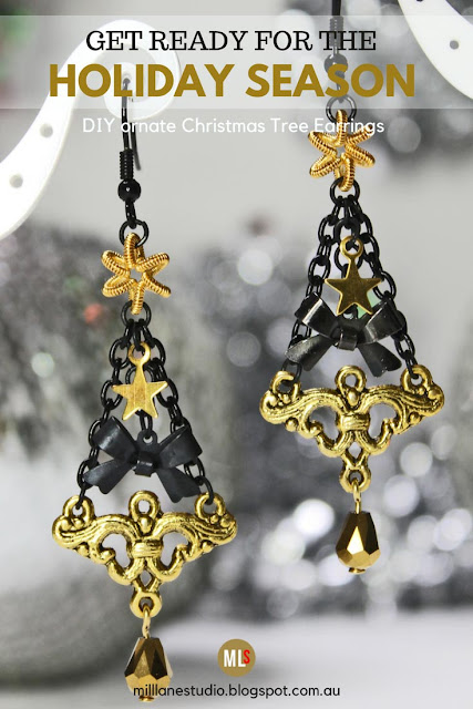 Black and Gold Christmas Tree earrings