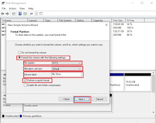 Perform a quick format in Disk Management