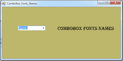 C# ComboBox With Fonts Names