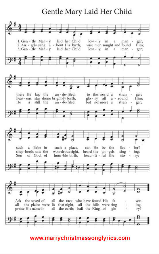 Gentle Mary Laid Her Child Song Sheet Music