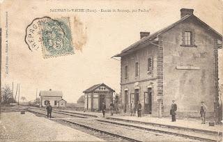 Carte postale ancienne saussay gare 1900