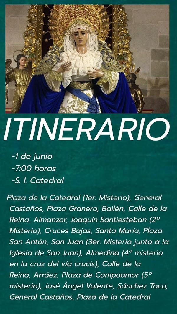 Rosario de la Aurora en honor de Nuestra Señora del Amor y la Esperanza en Almería este 1 de Junio