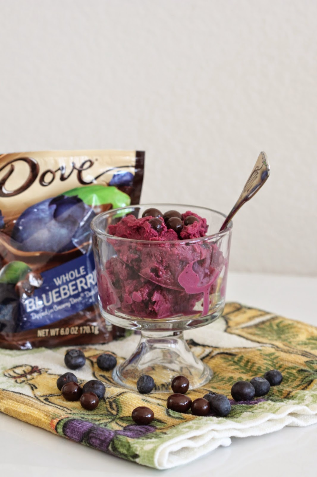 Blueberry Frozen Yogurt with Chocolate Covered Blueberries | Tortillas and Honey