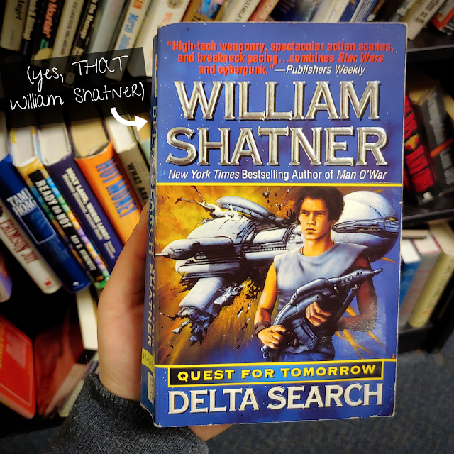 """cover of the book """"Quest for Tomorrow: Delta Search"""" by William Shatner. A caption reads: """"yes, THAT William Shatner"""""""
