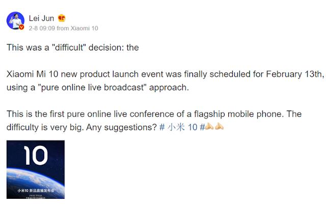Xiaomi Mi 10 Live Streaming Release