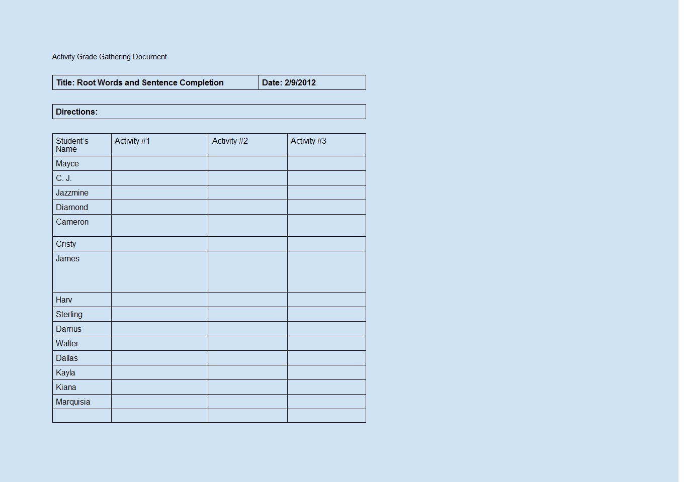 Activity Grade Gathering Word Template Template Sample