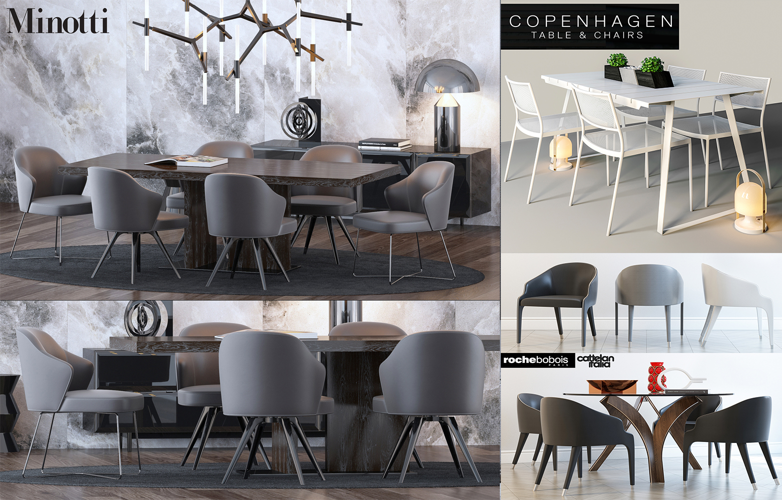 DOWNLOAD 4 HD DINING TABLE 3D MODELS FREE
