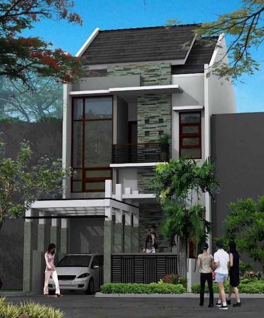 desain rumah kecil memanjang 2 lantai