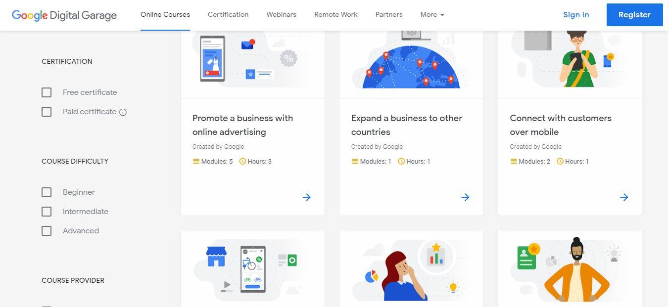 free easy online certifications by GoogleDigitalGarage