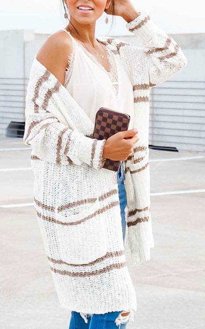 24 Cute Fall Outfits You Should Already Own. Fall Style for Women via higiggle.com | white cardigan | #fall #falloutfits #fashion #cardigan