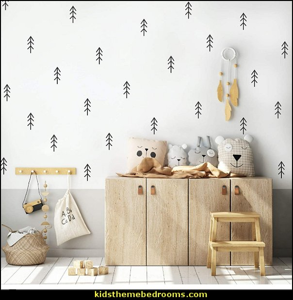 Woodland Trees Forest Wall Decals Nursery Kids Baby Bedroom Living Room, Scandinavian  Home Decor