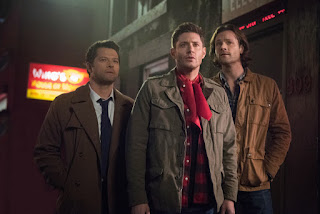 "Misha Collins as Castiel, Jensen Ackles as Dean Winchester, Jared Padalecki as Sam Winchester in Supernatural 13x16 ""ScoobyNatural"""