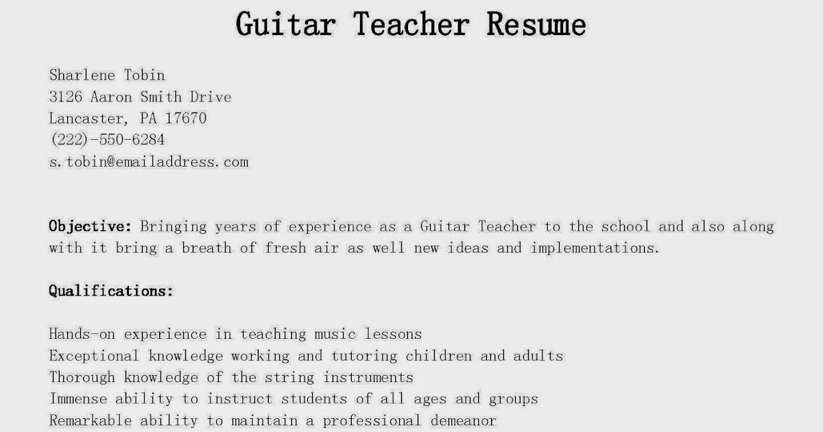 guitar teacher resume example