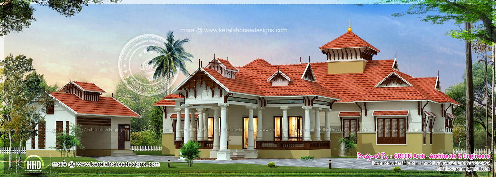 Traditional kerala style house with separate garage for Kerala style homes plans free
