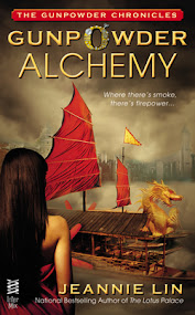 Original covers for Gunpowder Alchemy and Clockwork Samurai. Woman seen from the back looking at Asian scenery: a Chinese junk ship and a Japanese fortress