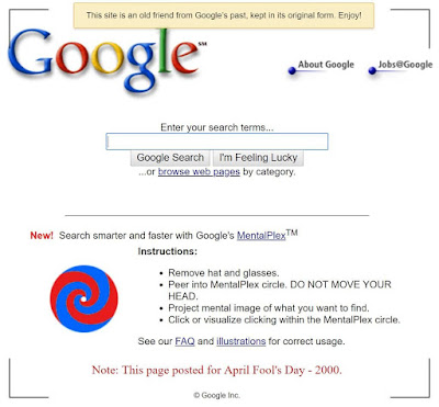 google multiplex on april fool day 2001 prank