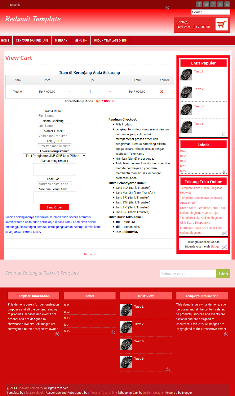 Checkout Page Redwait Template