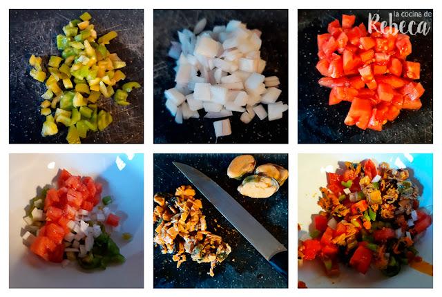 Receta de ensalada de arroz con escabeche de mejillones: preparación de las hortalizas