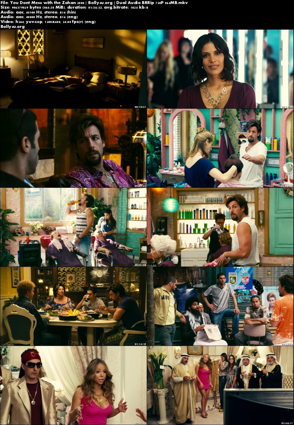 You Dont Mess with the Zohan 2008 BRRip 850MB Hindi Dual Audio 720p Download