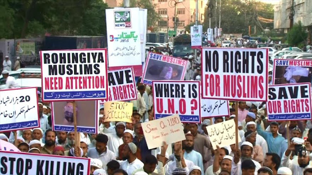 Paquistaníes protestan contra el genocidio de los Rohingya