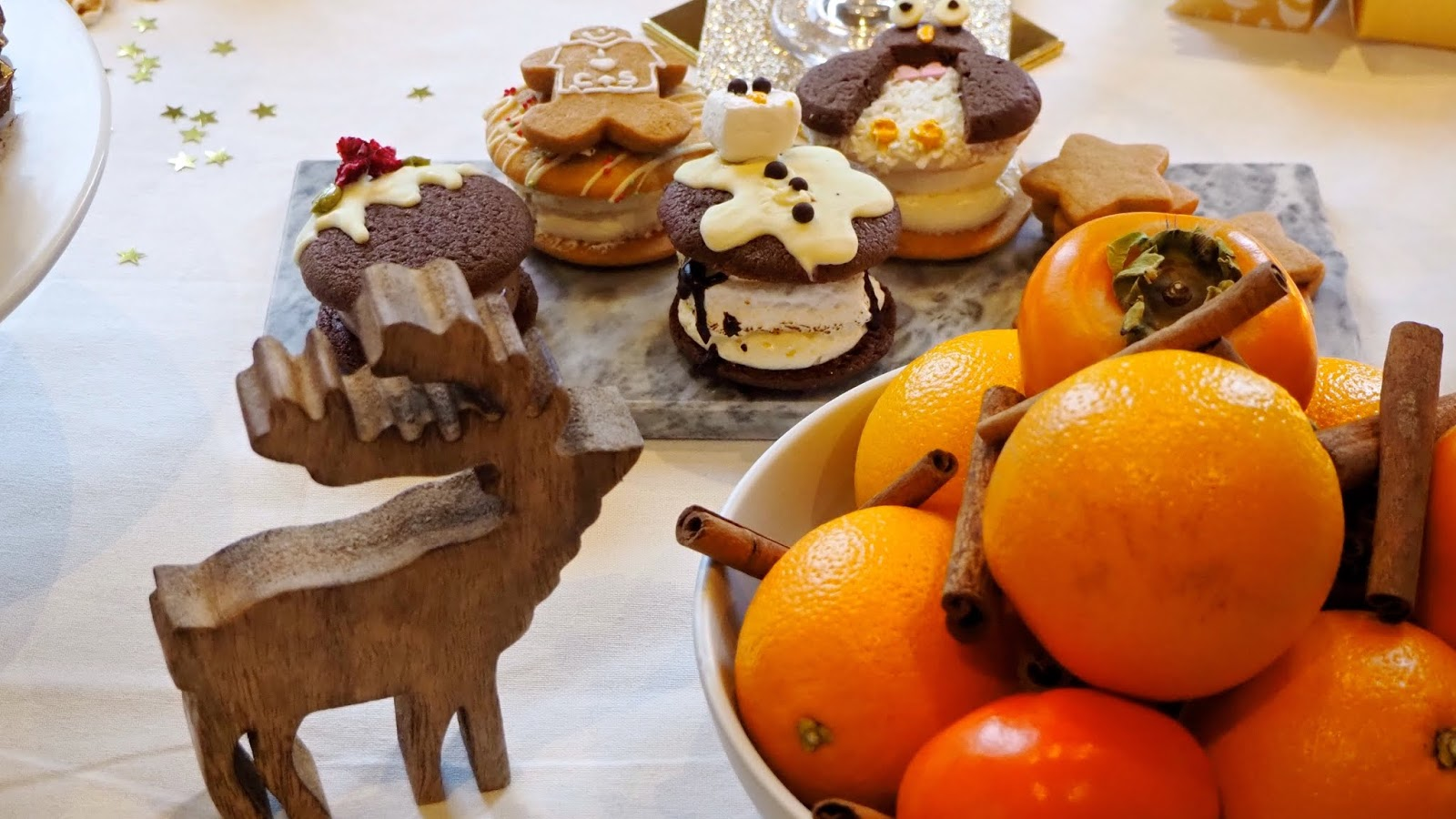 wooden reindeer, christmas whoopie pies, oranges and cinnamon