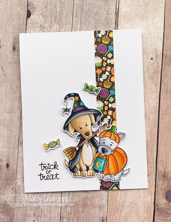 Dogs in Costumes Halloween Card by Holly Endress | Happy Howl-oween Stamp Set by Newton's Nook Designs #newtonsnook #handmade