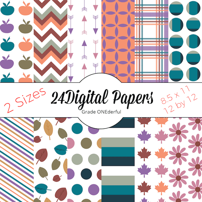 12 Beautiful autumn digital papers for your scrapbooking needs and teacher products. This kit comes with two sizes of paper: 8.5 by 11 AND 12 by 12 inches.