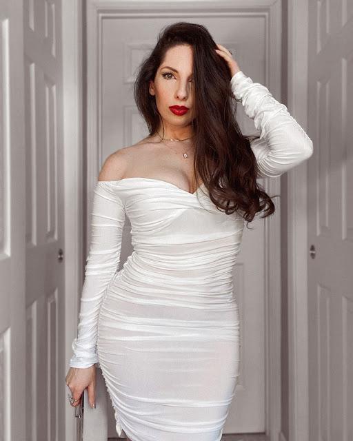 White Ruched Bardot Long Sleeve Bodycon Mini Dress Mindy