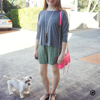 awayfromblue instagram | SAHM style long sleeve grey tee with olive embroidered shorts pink bag Cooper