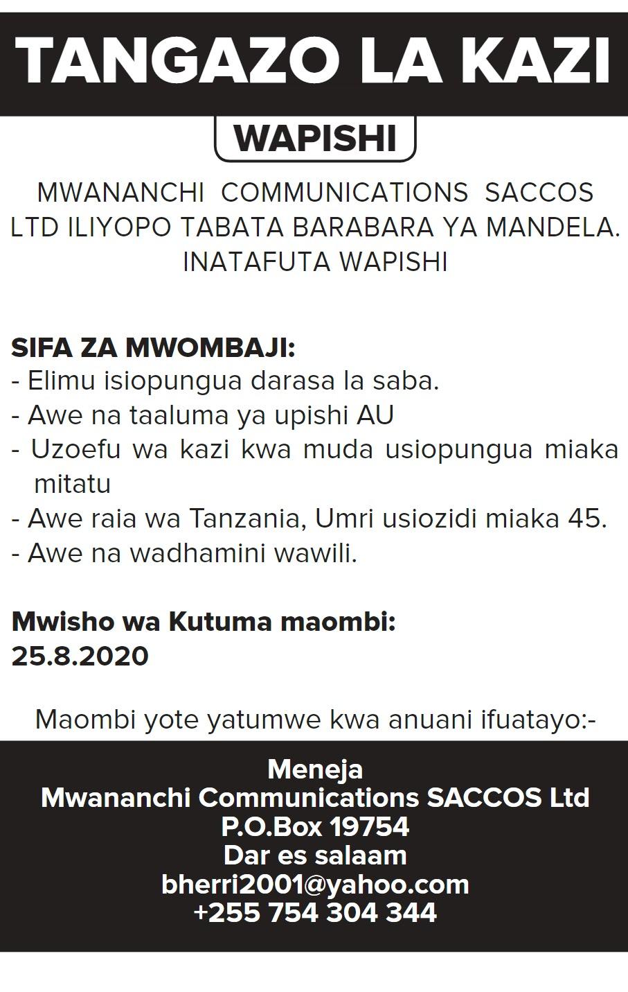 Job Opportunity at Mwananchi Communications SACCOS Limited, Cook (Wapishi)
