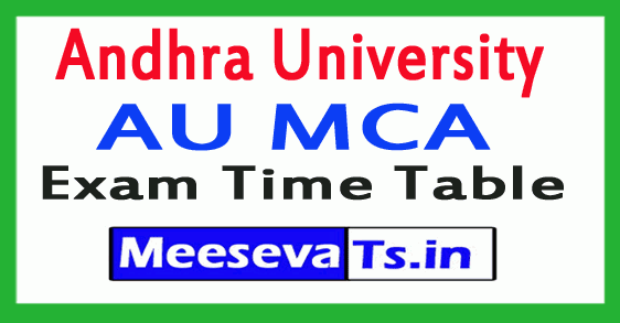 Andhra University AU MCA Exam Time Table