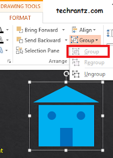Picture showing the right way to group objects in ppt