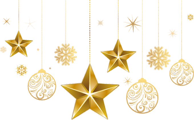 Gold star and bauble decors, Christmas ornament Star of Bethlehem Christmas tree free png