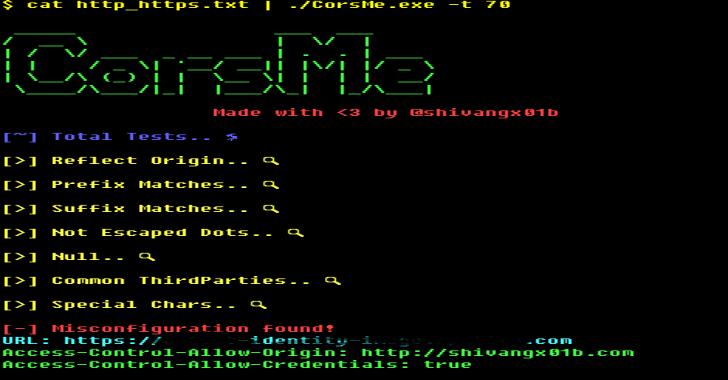 CorsMe : Cross Origin Resource Sharing MisConfiguration Scanner
