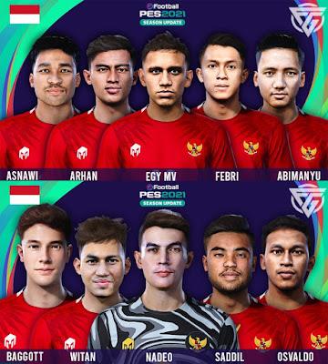 PES 2021 Facepack Timnas Indonesia by Facemkaer Ghiffari