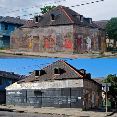 Blighted house used for 'Before I die' art project
