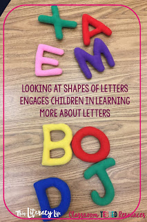 Looking at the shapes of letters will help emergent readers internalize more about letters.