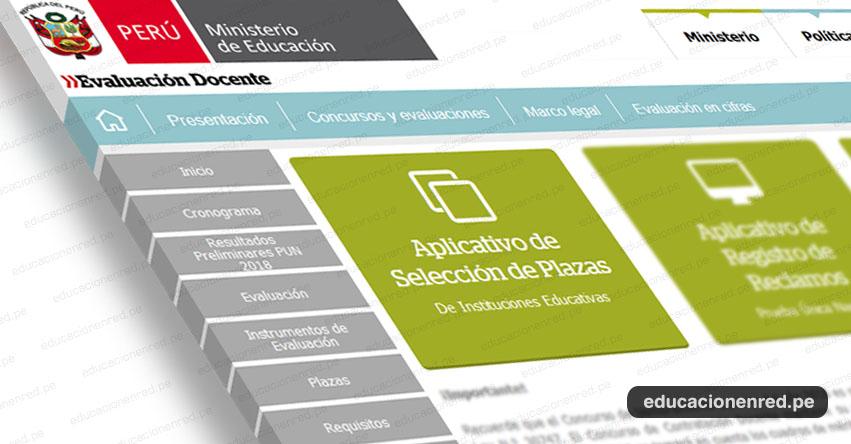 MINEDU: Aplicativo de Selección de Plazas Nombramiento Docente 2018 - www.minedu.gob.pe